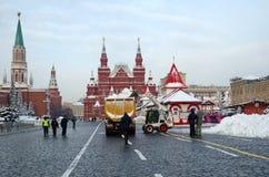 Rood vierkant in het centrum van Moskou na de sneeuw, Rusland stock fotografie