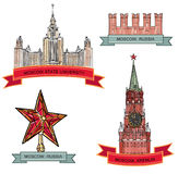 Rood Vierkant, het Kremlin. De reeks van het de Stadssymbool van Moskou vector illustratie
