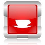 rood vierkant het Web glanzend pictogram van de koffiekop Royalty-vrije Stock Foto