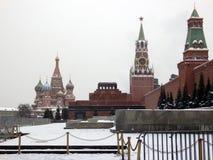 Rood Vierkant van Moskou in de winter stock afbeelding