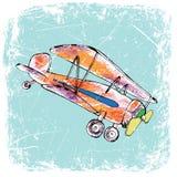 Rood vliegtuig met gele grappige propeller, getrokken hand, kleur penÑ  IL Illustratie Stock Illustratie