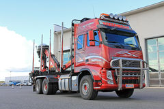 Rood Volvo die Vrachtwagen registreren Royalty-vrije Stock Afbeelding
