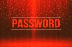 Rood wachtwoord achtergrondveiligheidsconcept Stock Foto's