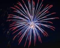Rood, wit en blauw vuurwerk Royalty-vrije Stock Afbeeldingen