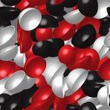 Rood Wit Zwart Hemisferen Naadloos Patroon Stock Fotografie