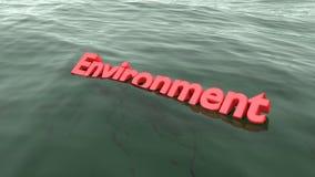 Rood woordmilieu die in het oceaan dalen zwemmen Royalty-vrije Stock Afbeelding