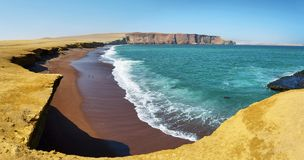 Rood zandstrand van de Nationale Reserve van Paracas in Peru Stock Foto