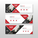 Rood zwart driehoeks vierkant abstract collectief bedrijfsbannermalplaatje, het horizontale malplaatje reclame van de bedrijfsban Royalty-vrije Stock Foto