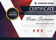 Rood zwart Elegantie horizontaal certificaat met Vectorillustratie, het witte malplaatje van het kadercertificaat met schoon en m royalty-vrije illustratie