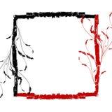 Rood zwart grunge bloemenframe Stock Fotografie