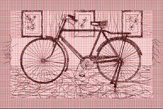 Rood Zwart Mesh With Vintage Bike Royalty-vrije Stock Afbeeldingen