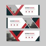 Rood zwart van de bedrijfs driehoeks abstract cirkel collectief bannermalplaatje, het horizontale malplaatje reclame van de bedri vector illustratie