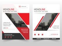 Rood zwart van het de Vlieger jaarverslag van het bedrijfsbrochurepamflet het malplaatjeontwerp, de lay-outontwerp van de boekdek Stock Fotografie