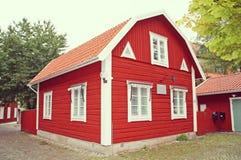 Rood Zweeds huis, Zweden Stock Afbeelding
