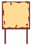 Roodbruin houten aanplakbord met oude affiche & schilverf Stock Fotografie