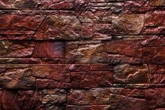 Roodbruine de textuur van de Steenmuur natuurlijke kleur als achtergrond Royalty-vrije Stock Afbeeldingen