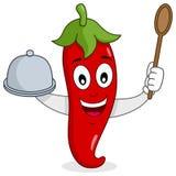 Roodgloeiend Chili Pepper met Dienblad en Lepel vector illustratie