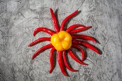 Roodgloeiend de peulclose-up van de Spaanse peperpeper op grijze concrete achtergrond Selectieve nadruk en exemplaarruimte royalty-vrije stock afbeeldingen
