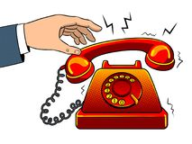 Roodgloeiend oud telefoonpop-art vectorillustratie Royalty-vrije Stock Foto's