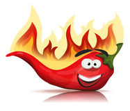 Roodgloeiende Chili Pepper Character With Burning-Vlammen vector illustratie