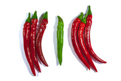 Roodgloeiende die Spaanse peperpeper op witte achtergrond wordt geïsoleerd Stock Afbeelding