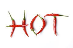 Roodgloeiende peper in brieven Royalty-vrije Stock Fotografie