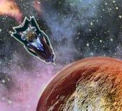 Roodgloeiende planeet die op Mars met landend ruimteveer lijken stock illustratie