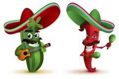Roodgloeiende Spaanse peperpeper en cactus in Mexicaanse hoedensombrero het dansen maracas royalty-vrije illustratie