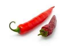 Roodgloeiende Spaanse peperpeper en droge Spaanse peper Royalty-vrije Stock Foto
