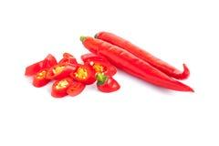 Roodgloeiende Spaanse peperpeper op witte achtergrond Stock Afbeeldingen