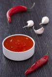 Roodgloeiende Spaanse pepersaus Royalty-vrije Stock Fotografie