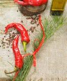 Roodgloeiende Spaanse peperspeper met kruid Stock Foto's