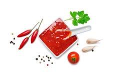 Roodgloeiende Spaanse peperssaus Stock Fotografie