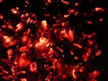 Roodgloeiende steenkolen Stock Fotografie