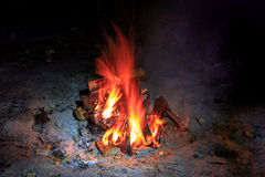 Roodgloeiende vlam van kampvuur Stock Fotografie