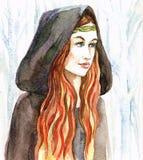 Roodharig meisje in een kap royalty-vrije illustratie