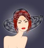 Roodharig meisje in een modieuze hoed Stock Afbeeldingen