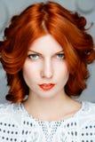 Roodharig meisjesgezicht Stock Afbeelding