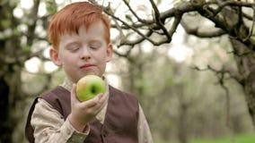 Roodharige dorpsjongen die een verse appel in de tuin in langzame motie eten stock video