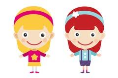 Roodharige en blondebeeldverhaal vectormeisjes binnen Royalty-vrije Stock Afbeeldingen