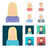 Roodharige jongen, tienermeisje die, grootmoeder glazen dragen Avatar vastgestelde inzamelingspictogrammen in beeldverhaal, vlak  stock illustratie