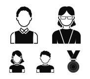 Roodharige jongen, tienermeisje die, grootmoeder glazen dragen Avatar vastgestelde inzamelingspictogrammen in de zwarte voorraad  stock illustratie