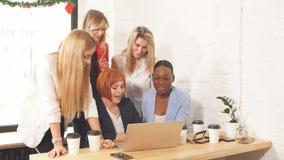 Roodharige leraar die nieuw materiaal op economie verklaren aan vrouwelijke studenten stock videobeelden