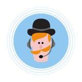 Roodharige mens met een snor in hoofdtelefoons met een microfoon Vlakke pictogramavatar Stock Fotografie