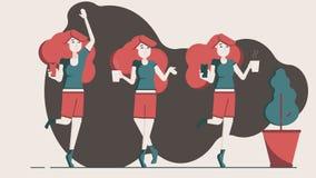 Roodharigevrouw die thuis met kop van koffie rust stock illustratie