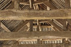 Roof. Timber construction inside roof of old open market stock images