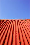 Roof. Red roof top and blue sky Stock Images