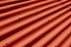 Roof. Detailed shot of a red roof top stock photo