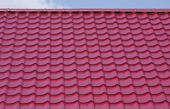 Roof. Board texture in red color Royalty Free Stock Photo