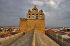 On the roof. Church roof and belfry in St. Maries de la Mer city Royalty Free Stock Photos